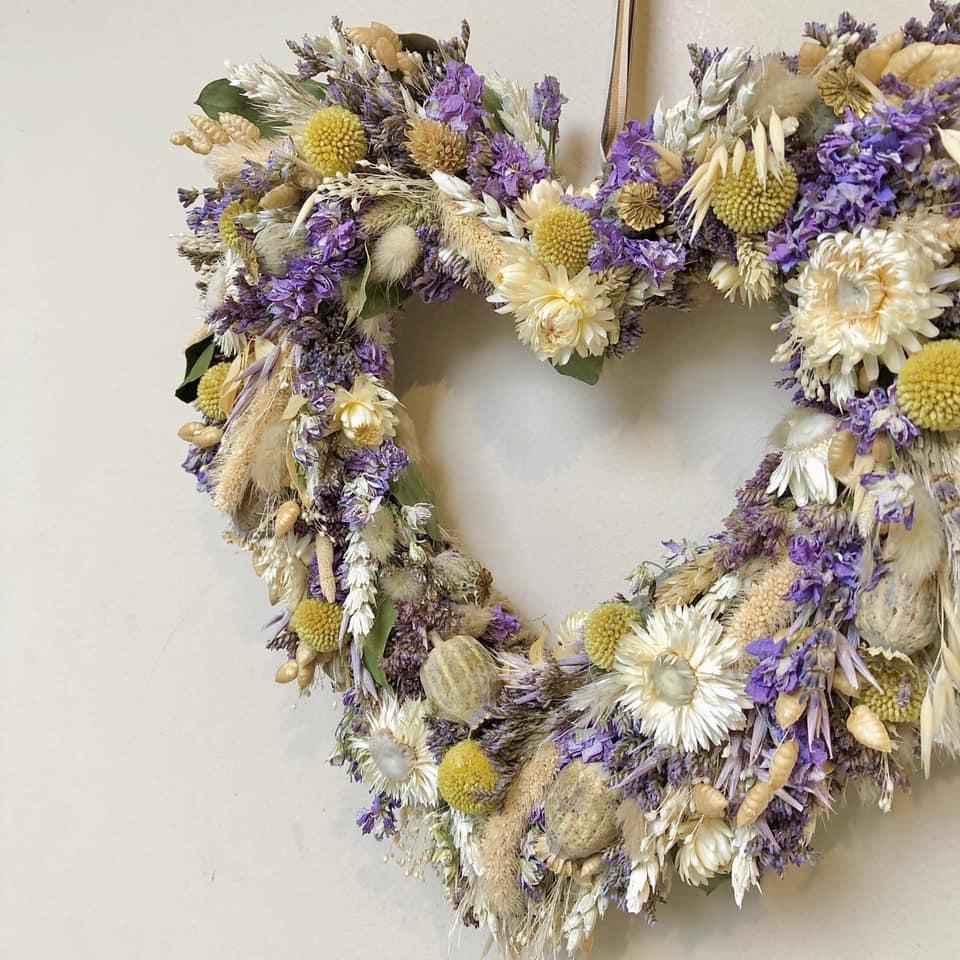 Heart Shaped Dried Flower Wreath Wall Decoration