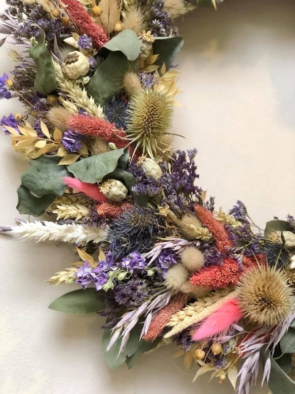 Details of Dried Flower Wreath Wall Decoration