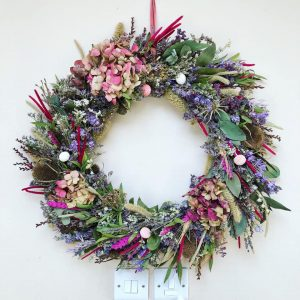 Dried Flower Pink Wall Wreath