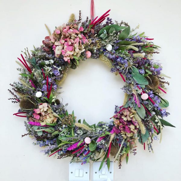 Dried Flower Pink Wall Wreath