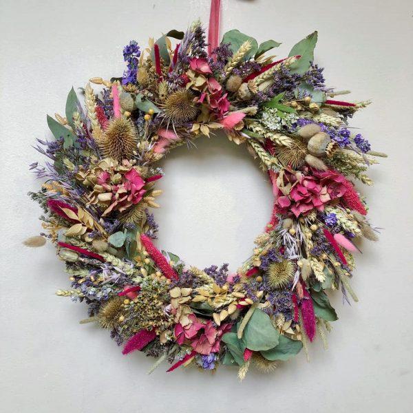 Round Dried Flower Wreath Wall Decoration