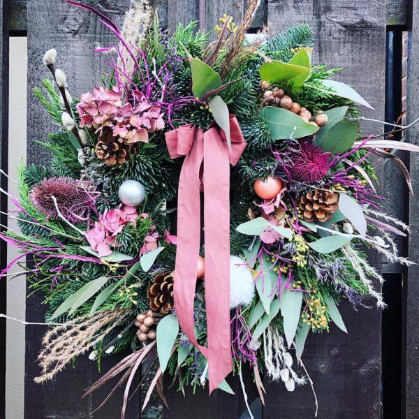 Dusky Pink Floral Door Wreath