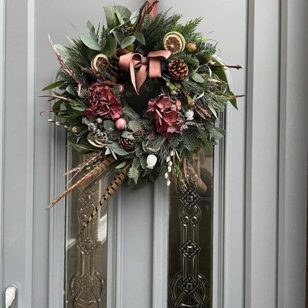 Dusky Pink Floral Christmas Door Wreath