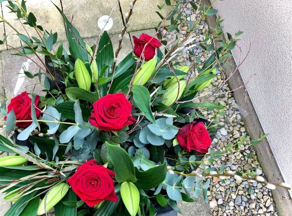 Forever Yours - A Bouquet of Red Roses and Lilies
