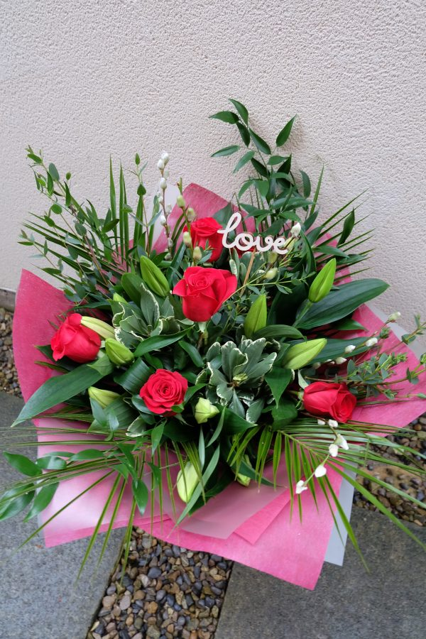 Forever Yours - A Bouquet of Roses and Lilies