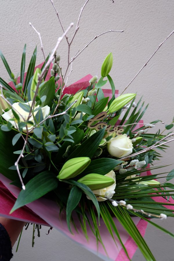 Forever Yours - A Bouquet of White Roses and Lilies