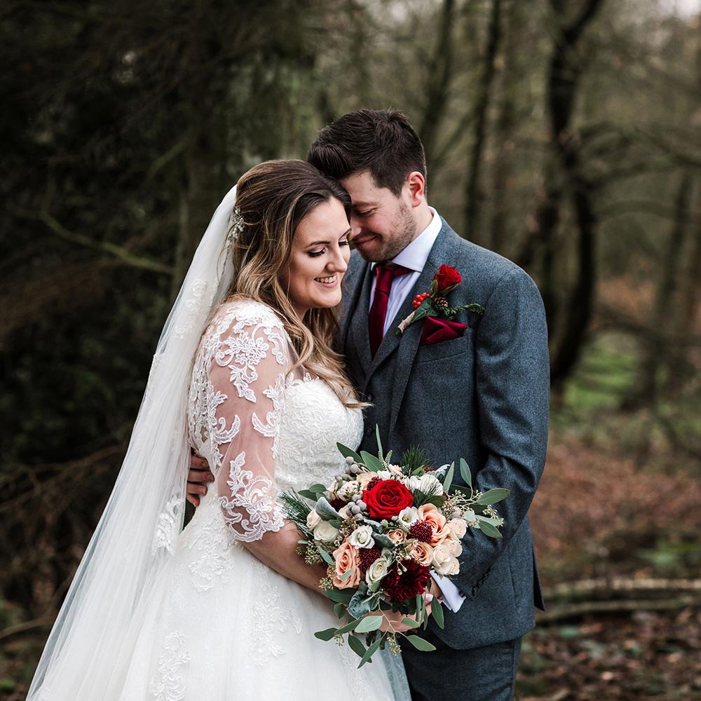 Blush and burgundy wedding flowers